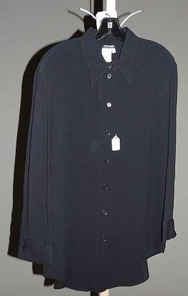 3906: Giorgio Armani Black Silk LS Blouse (12)