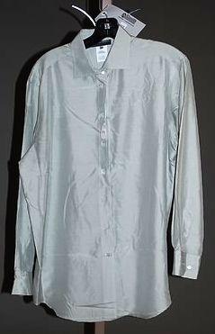 3913: Giorgio Armani Pale Green Silk LS Blouse (12)
