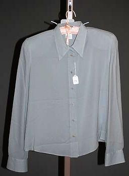 3914: Giorgio Armani Gray Silk LS Blouse (10)