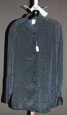 Giorgio Armani Navy Silk L-Sleeve Blouse (12)