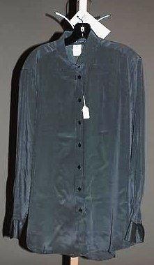 3922: Giorgio Armani Navy Silk L-Sleeve Blouse (12)