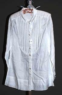 3928: Rena Lange White Linen L-Sleeve Blouse (10)