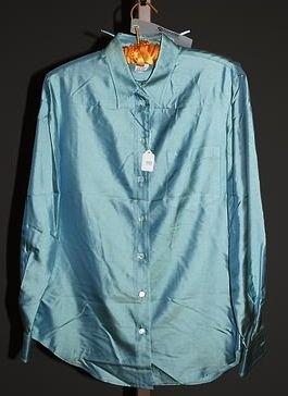 3953: Giorgio Armani Green Silk L-Sleeve Blouse (12)