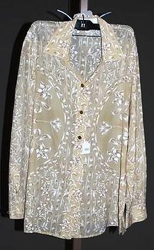 3931: Escada Tan Silk L-Sleeve Blouse (8)