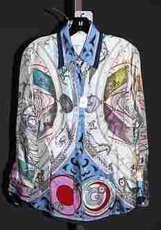 3932: Etro Ivory Silk L-Sleeve Blouse (10-12)