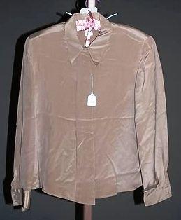 3935: Giorgio Armani Tan Silk L-Sleeve Blouse (12)