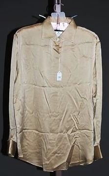 3936: Giorgio Armani Gold Silk L-Sleeve Blouse (12)