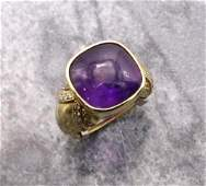18KY Gold Amethyst and Diamond Ring