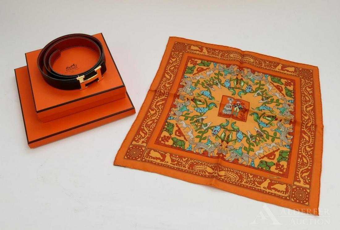 Hermes Leather Belt & Scarf