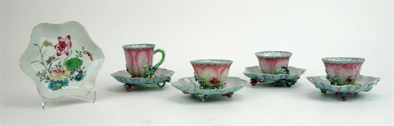 """Chinese Famille Rose """"Lotus"""" Tea Bowls and Saucers"""