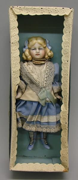 "7015: 8"" All Bisque-Painted Eyes Doll, German"