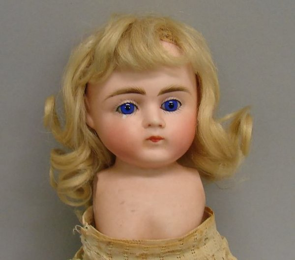 "7016: 8"" All Bisque-Glass Eyes Doll, German"