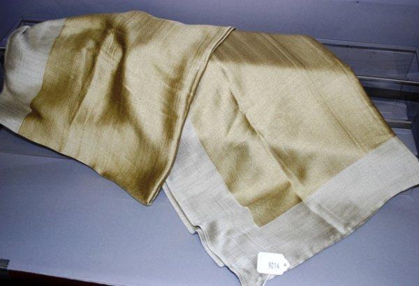 9014: Giorgio Armani Gold/Cream Silk/Cashmere Scarf
