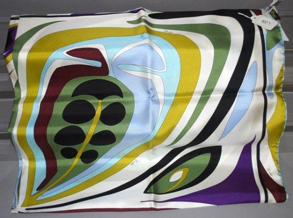 9021: Emilio Pucci Green Print Silk Scarf/Signature