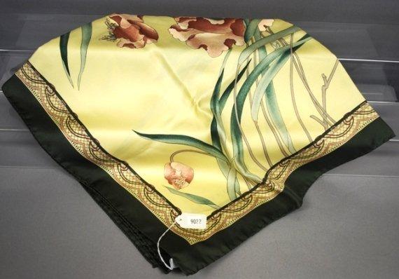 9022: Jaeger Green/Yellow Botanical Print Silk Scarf