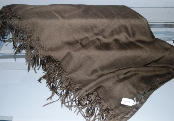 9023: Chado Brown Thin Woven Cashmere/Silk Scarf