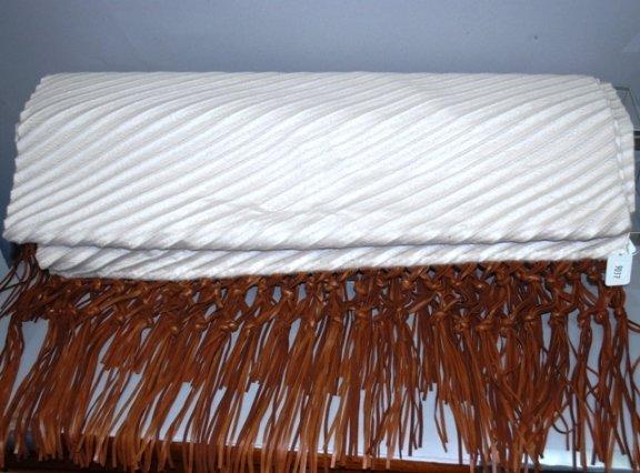 9037: CHADO Cream Cashmere Wrap w/ Leather Fringe