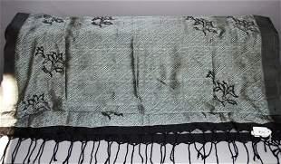 9100: Dries Van Noten Woven Gray/Black Silk Scarf