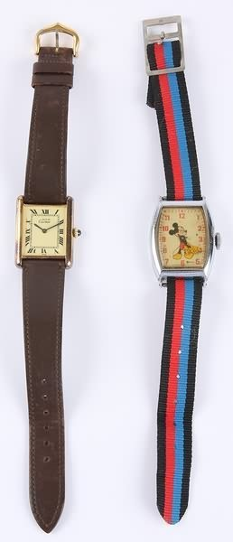 1123: Cartier Wrist Watch and  Mickey Mouse Wrist Watch