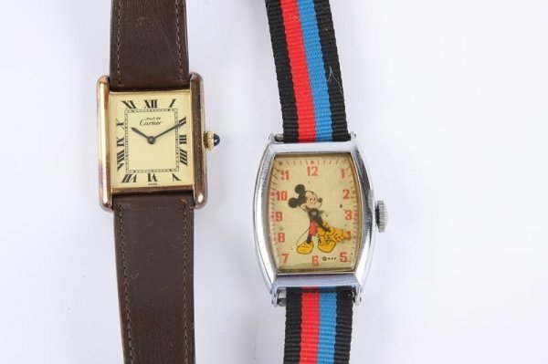 1123: Cartier Wrist Watch and  Mickey Mouse Wrist Watch - 2