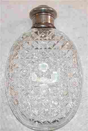 Cut Glass Flask with Sterling Silver Mountings - T
