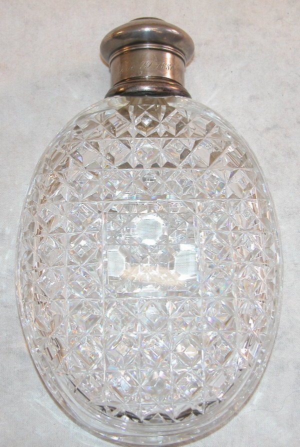 552: Cut Glass Flask with Sterling Silver Mountings - T
