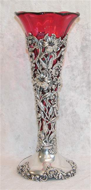 Sterling Silver and Ruby Glass Vase.