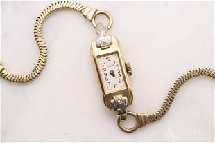 Elgin 14KY Gold Diamond Deco Ladies Watch