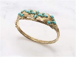 Jack Gutschneider 14KY Gold Turquoise Bracelet