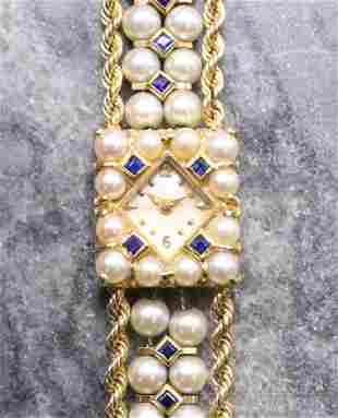 14KY Gold Pearl and Sapphire Ladies' Wrist Watch