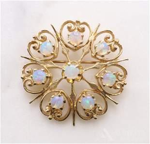 14KY Gold Opal Brooch