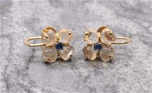 14KY Gold Moonstone and Sapphire Earrings