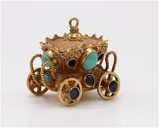 18KY Gold Turquoise Sapphire Carriage Charm