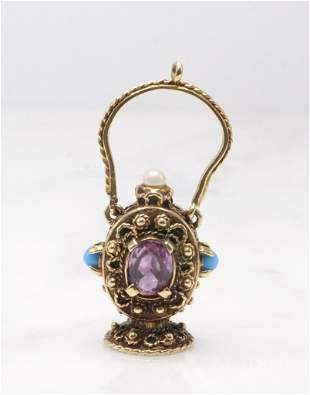 14KY Gold Gemstone Fob Charm Pendant