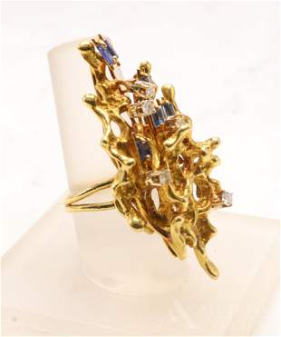 14KY Gold Sapphire and Diamond Ring
