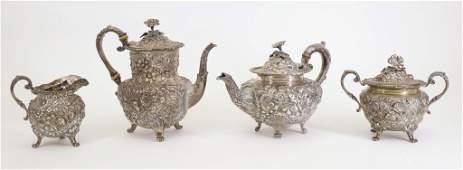 Jacobi &Jenkins Repousse Sterling Silver Tea Service