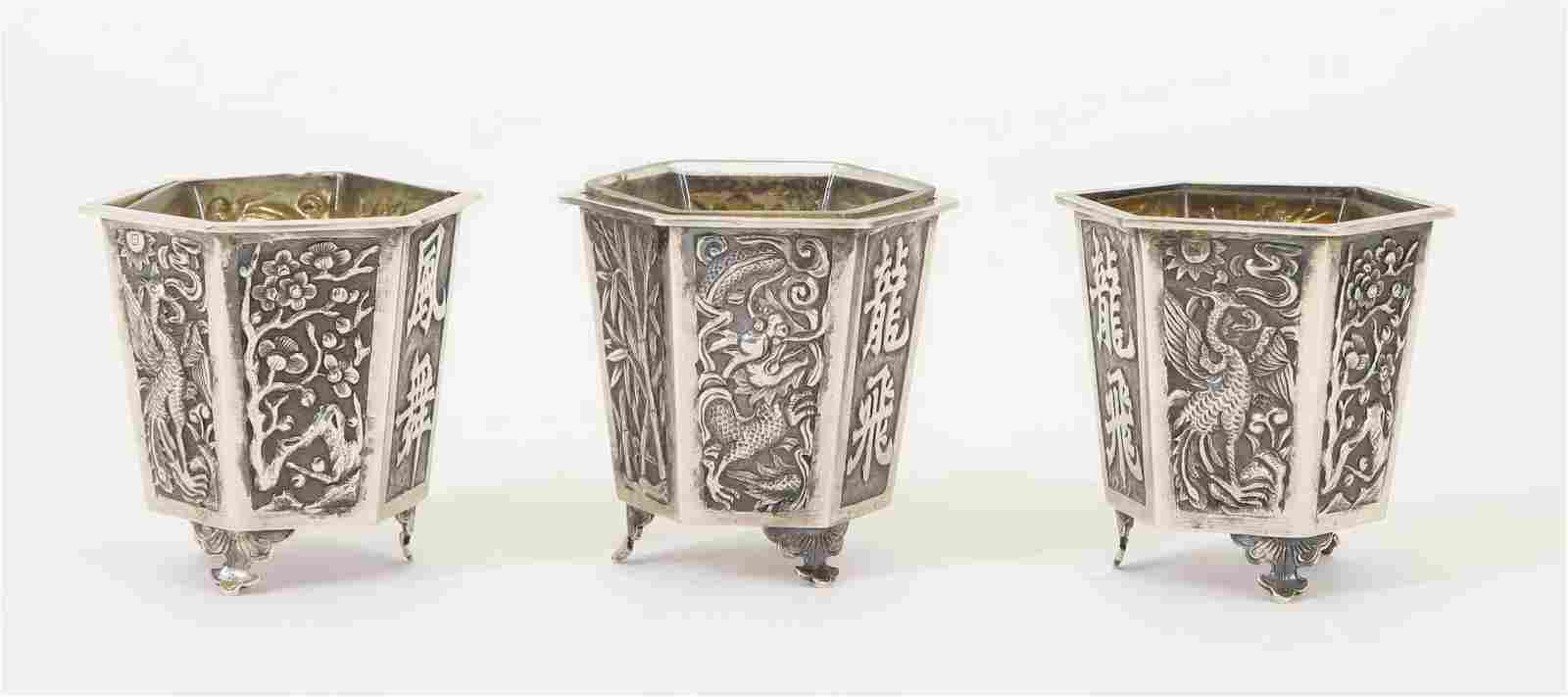 Wang Hing Sterling Silver Sake Cups