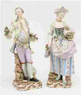 Meissen Figurines of a Gardener and Companion
