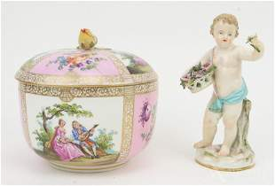 Meissen Covered Bowl and Figurine