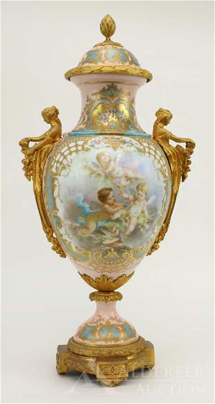 Sèvres Porcelain Vase with Cover