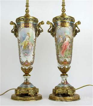 Signed Sevres Style Porcelain Lamps