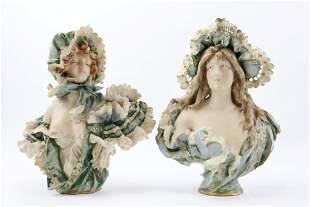 Austrian Teplitz Porcelain Busts