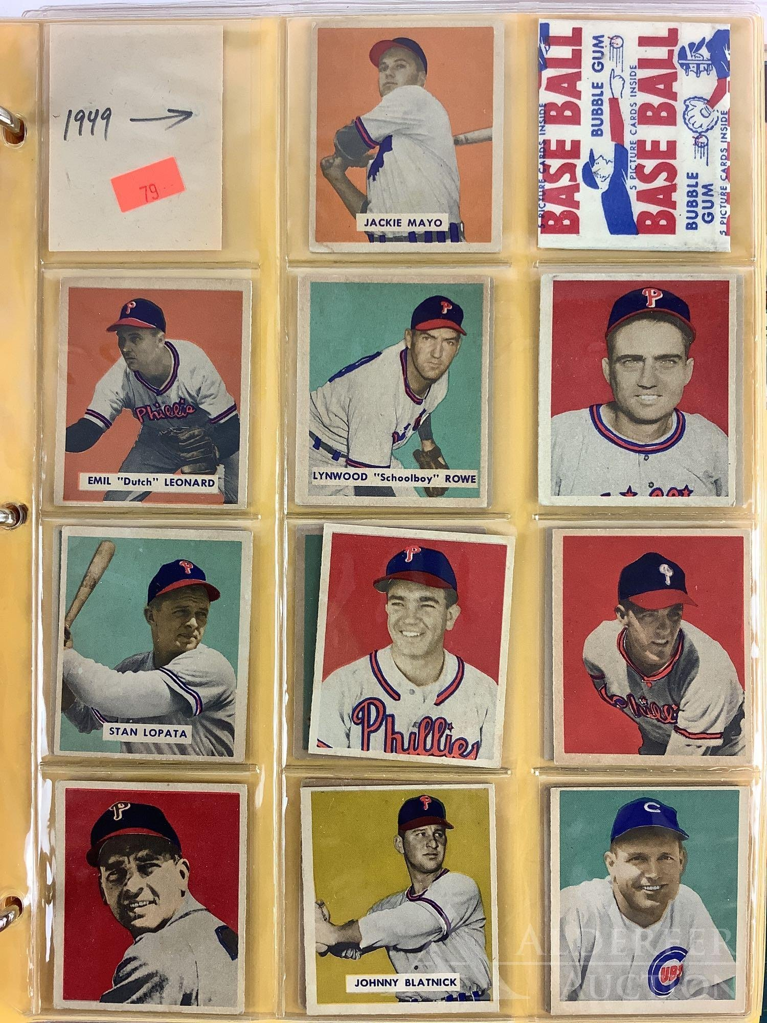 1949 Bowman baseball cards and wrapper