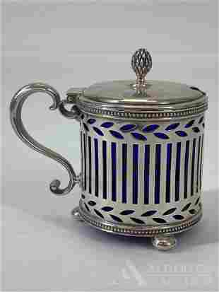 Tiffany & Co. Sterling Silver Cobalt Blue Mustard Pot