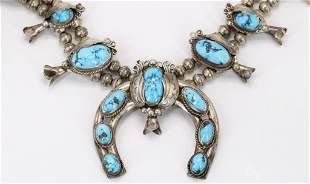 Silver Turquoise Squash Blossom Necklace