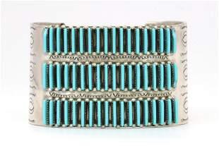 Sterling Silver Zuni Turquoise Needlepoint Bracelet