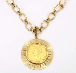 Gold USA Coin in 14KY Gold Pendant on Chain