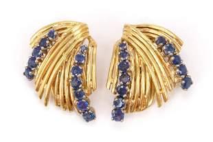 18KY Gold Sapphire Earrings