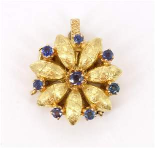 14KY Gold Sapphire Floral Clasp
