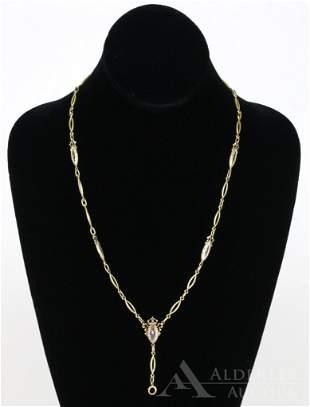 14K Gold Enamel Link Necklace